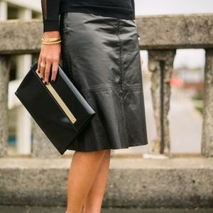 Banana Republic black leather lined pencil skirt